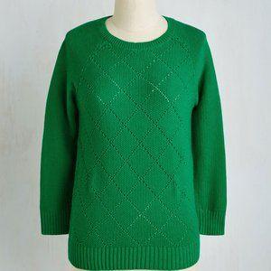 Dining Car Cutie Sweater Green S